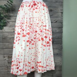 J. Crew   pleated flamingo print midi skirt size 8